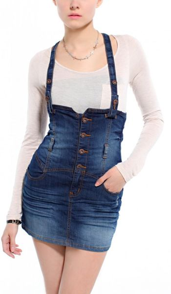 overall skirt in blue denim lyst