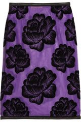 Christopher Kane Leathertrimmed Flocked Tulle Pencil Skirt - Lyst