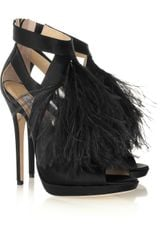 Jimmy Choo Teazer Feather Trimmed Satin Sandals