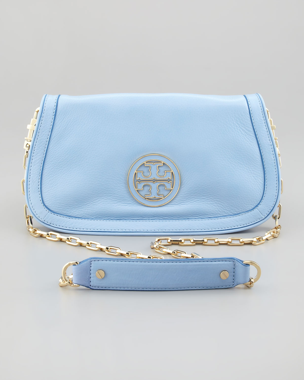 Lyst - Tory Burch Amanda Leather Clutch in Blue 2dbb3e320
