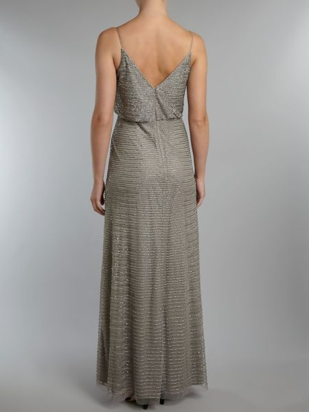 Adrianna Papell Blouson Beaded Dress In Silver Lyst