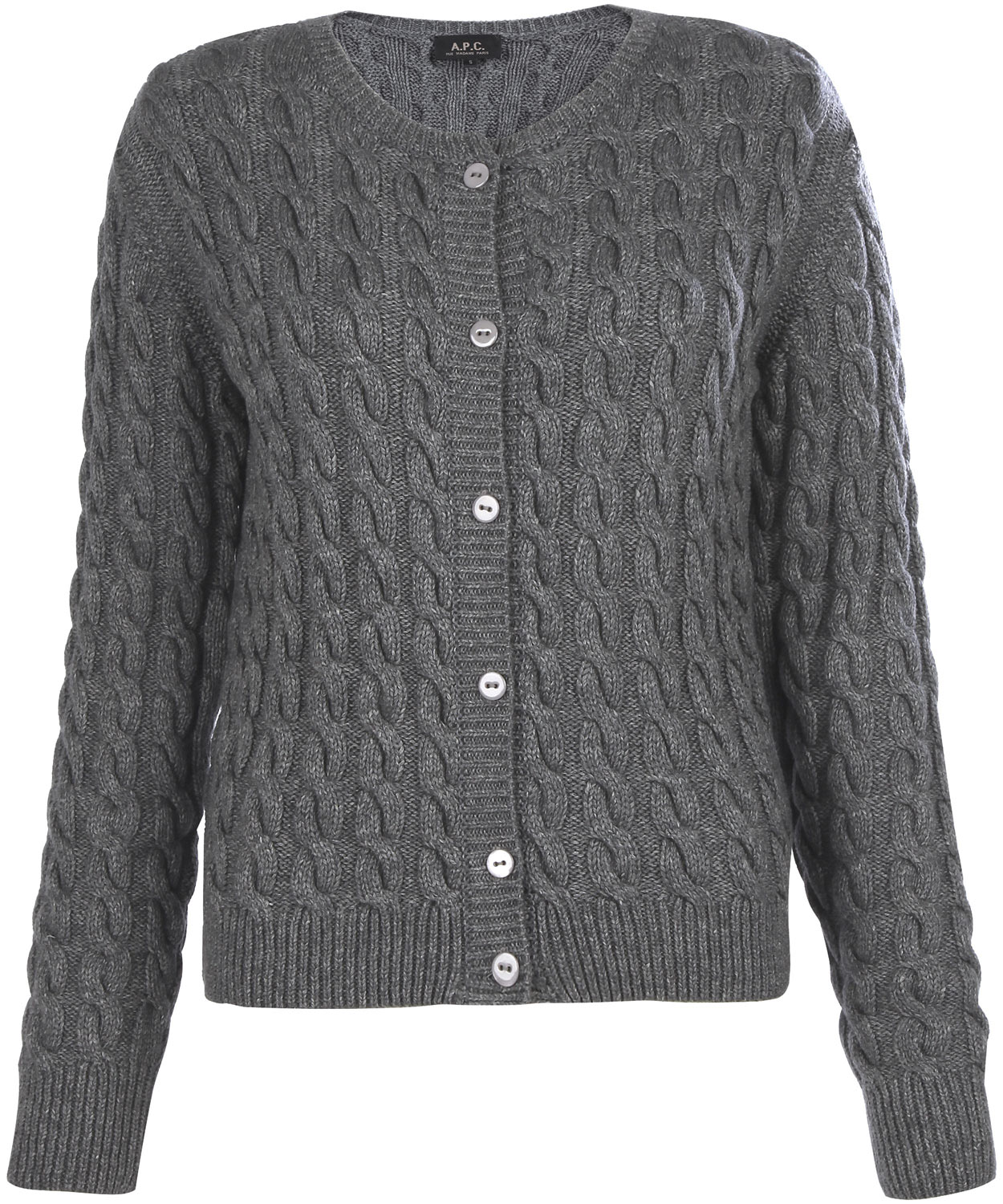 A.p.c. Grey Cable Knit Cardigan in Gray | Lyst