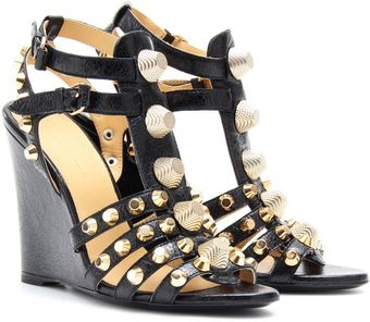 Balenciaga Leather Studded Wedges - Lyst