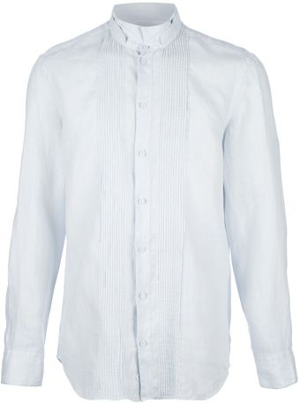 Emporio Armani Pleated Button Down Shirt - Lyst