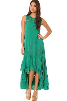 Free People The Long Crochet Dress with Tiers in Emerald Combo - Lyst