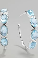 Ippolita Silver Blue Topaz Hoop Earrings - Lyst