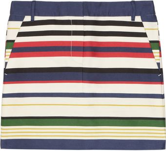 J.Crew Striped Cotton Blend Mini Skirt - Lyst