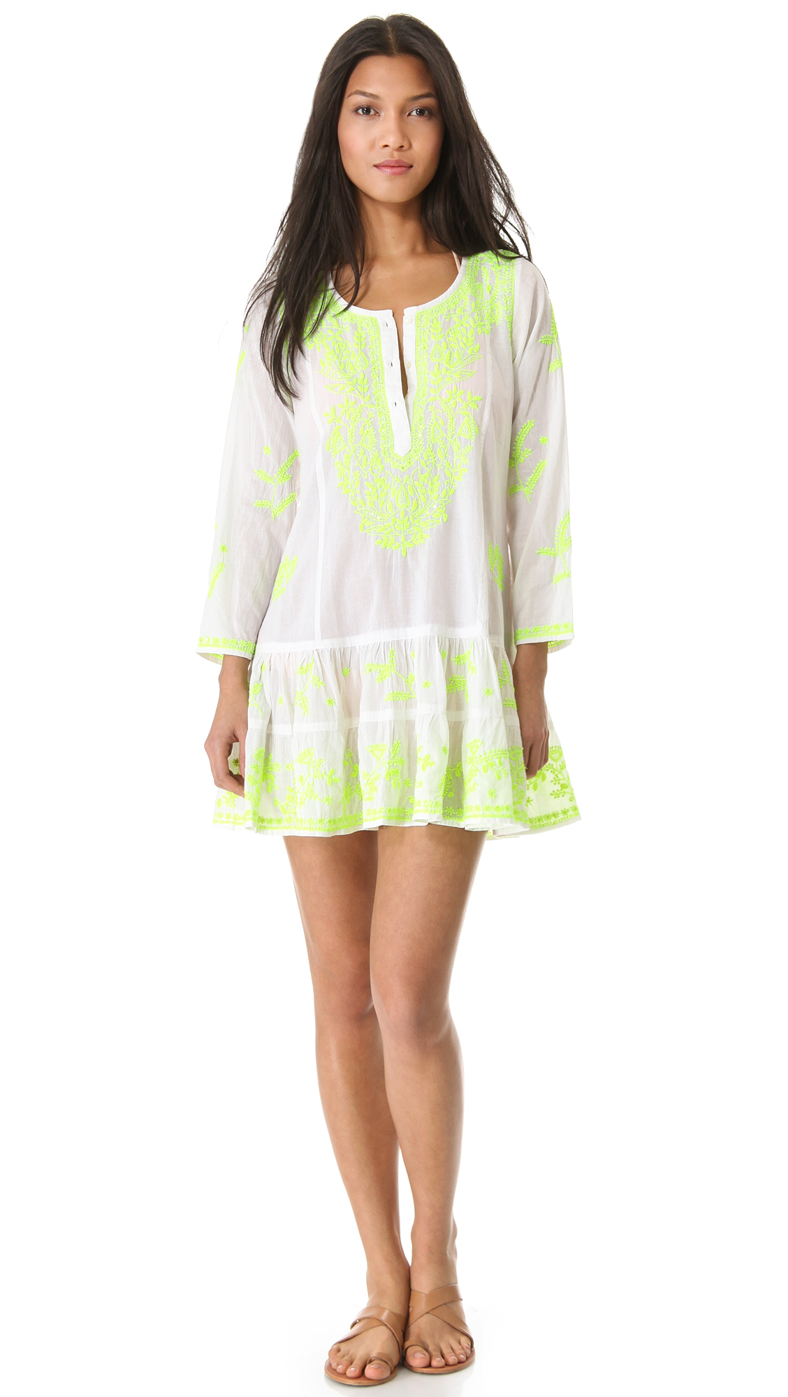 Lyst Juliet Dunn Long Sleeve Cover Up Dress In White