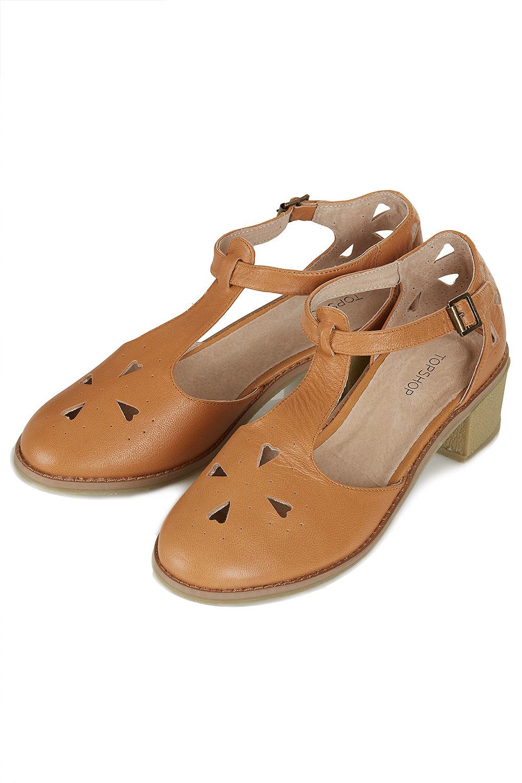 Lyst - TOPSHOP Block Heel Tbar Shoes in Brown
