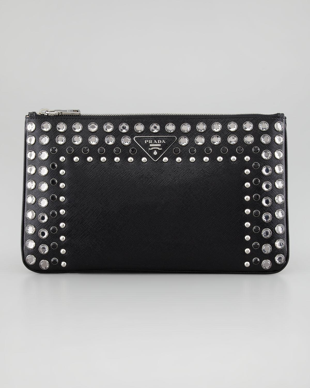 Prada Vernice Saffiano Crystalstudded Clutch Bag in Black | Lyst