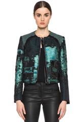 Proenza Schouler Tweed Collarless Jacket in Teal Black - Lyst