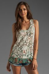 Anna Sui Filigree Print Crinkle Chiffon and Lace Top in Jade Multi - Lyst