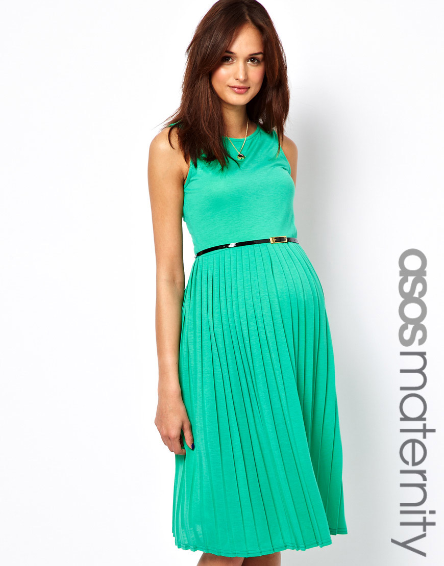 Lyst asos pleated midi dress with belt in green gallery ombrellifo Images