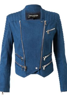 Balmain Quilted Denim Biker Jacket - Lyst