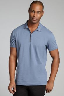 Bottega Veneta Cadet Blue Cotton Piqué Zip Neck Polo Shirt - Lyst