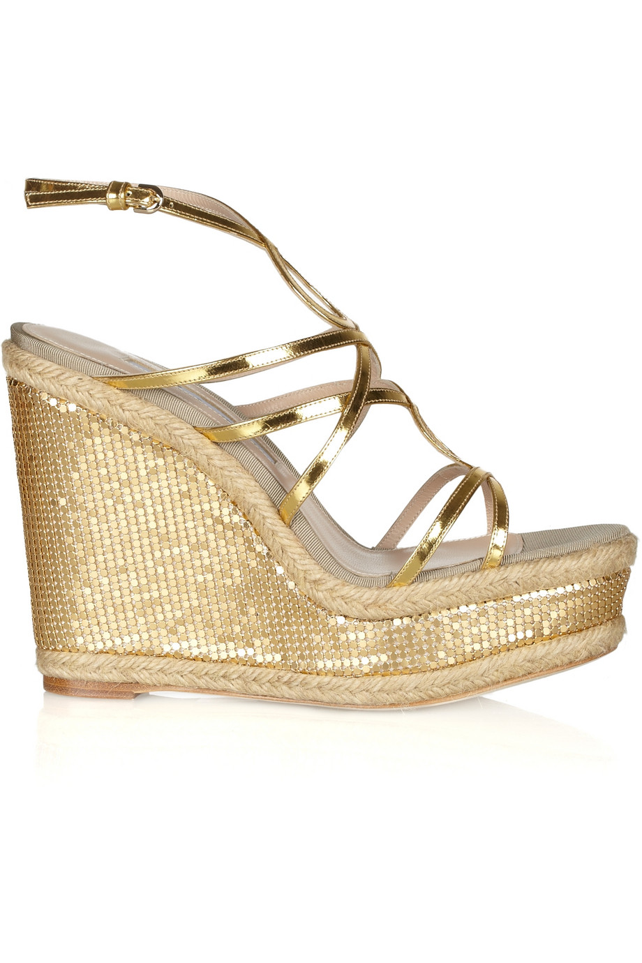 acf36944a Lyst - Brian Atwood Jourdan Chainmailcovered Rope Wedge Sandals in ...