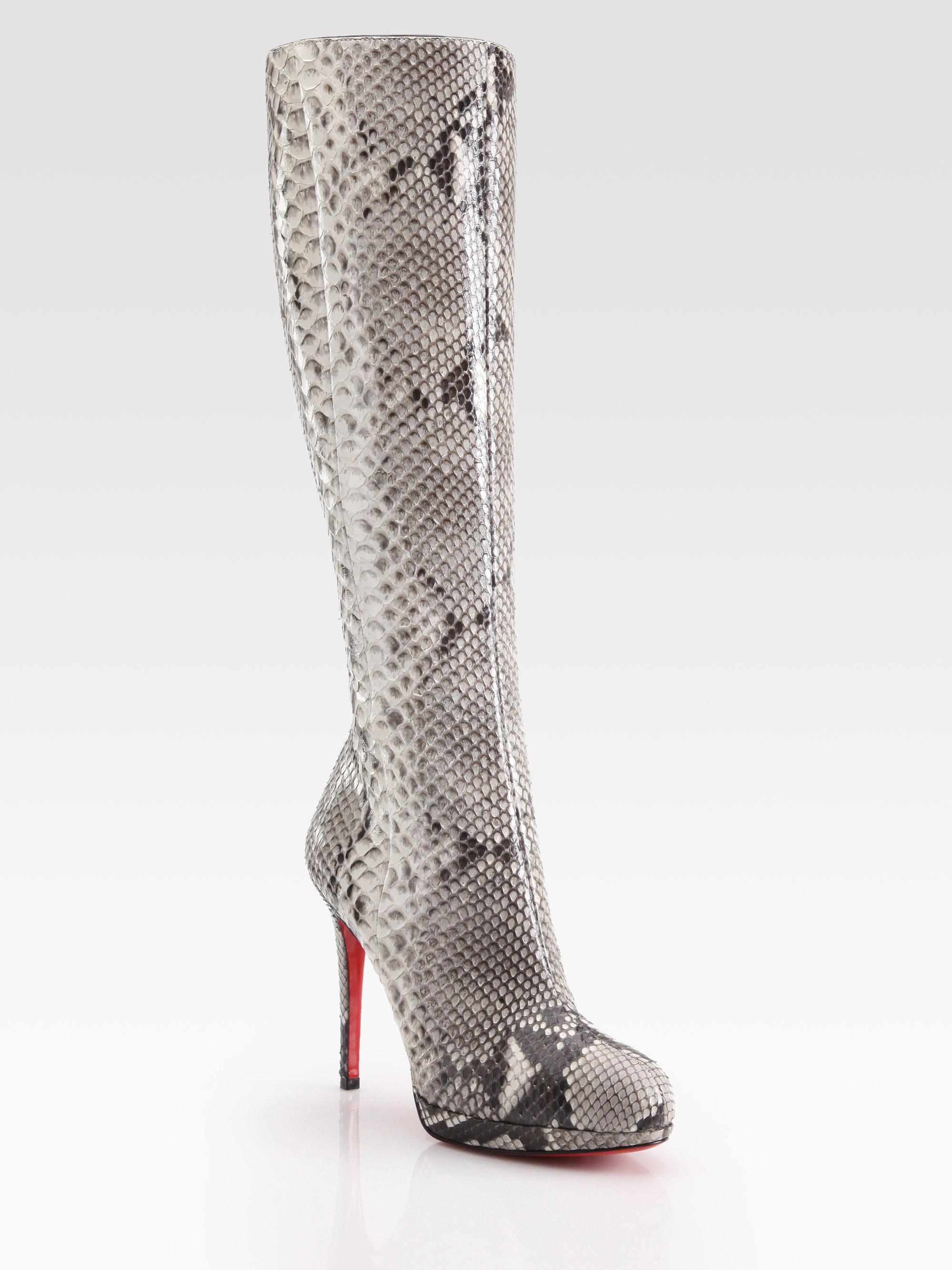 new styles 8a897 bf40d christian louboutin snakeskin leather boots, christian ...
