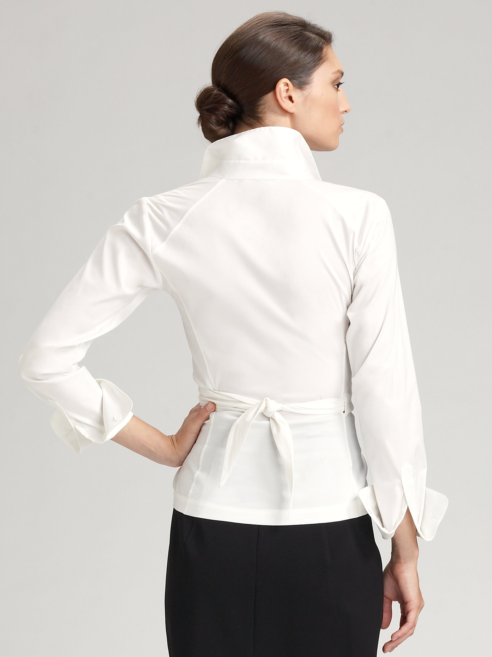 lyst donna karan stretch cotton wrap shirt in white