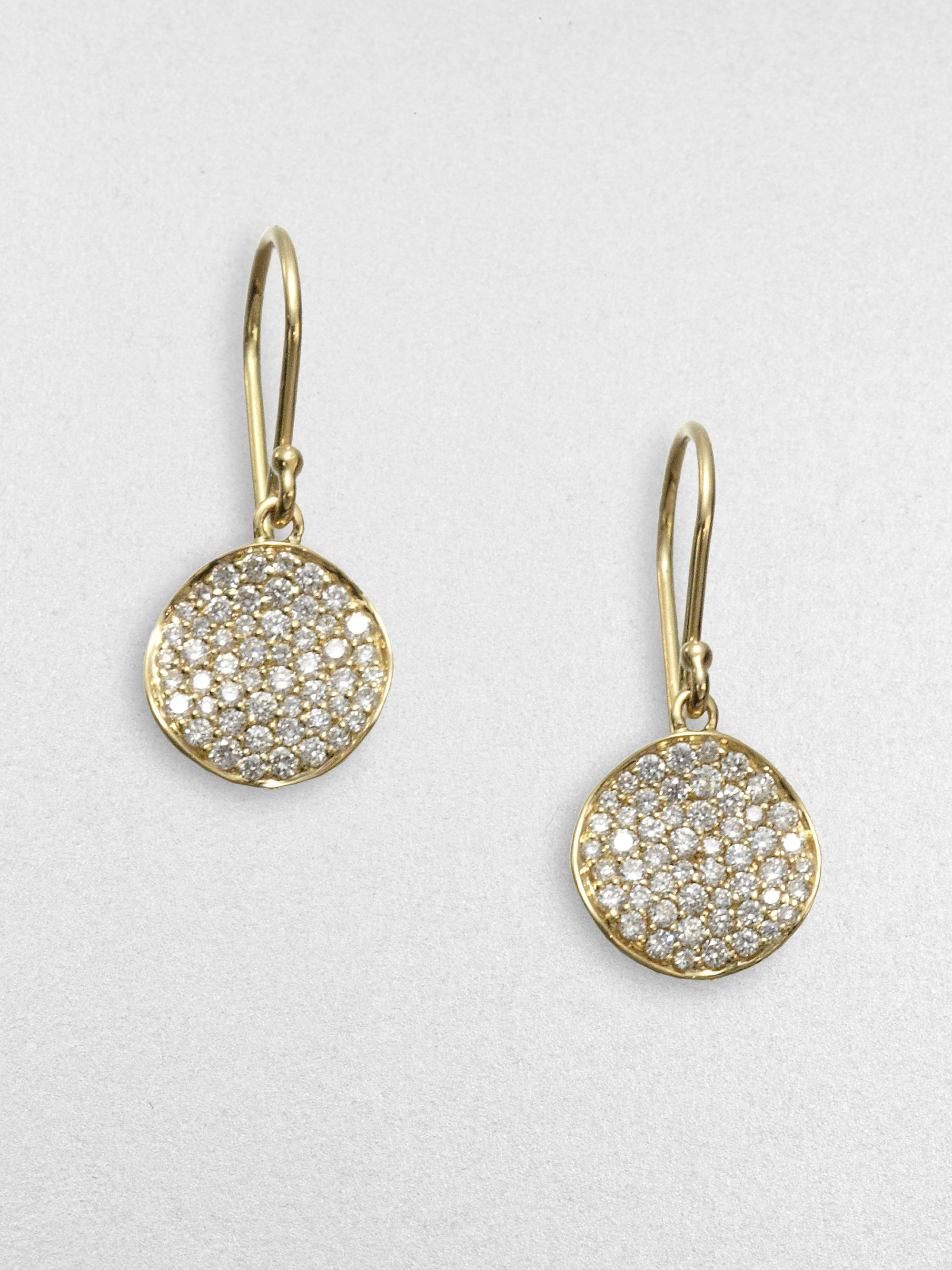 Ippolita Stardust Diamond Amp 18k Yellow Gold Disc Earrings