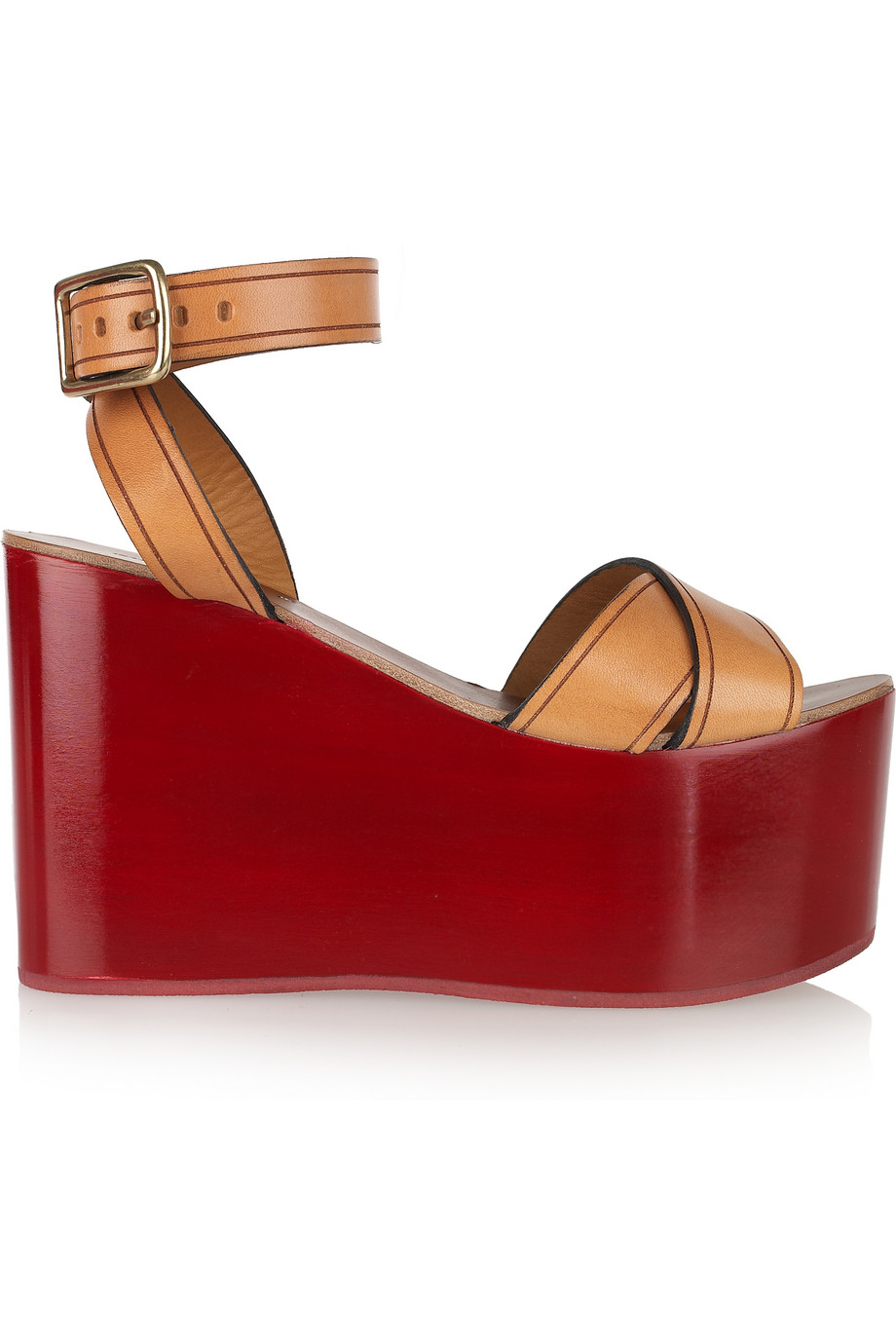 8a0af5ddf454 Lyst - Isabel Marant Zora Leather Lacquered-wedge Sandals in Red