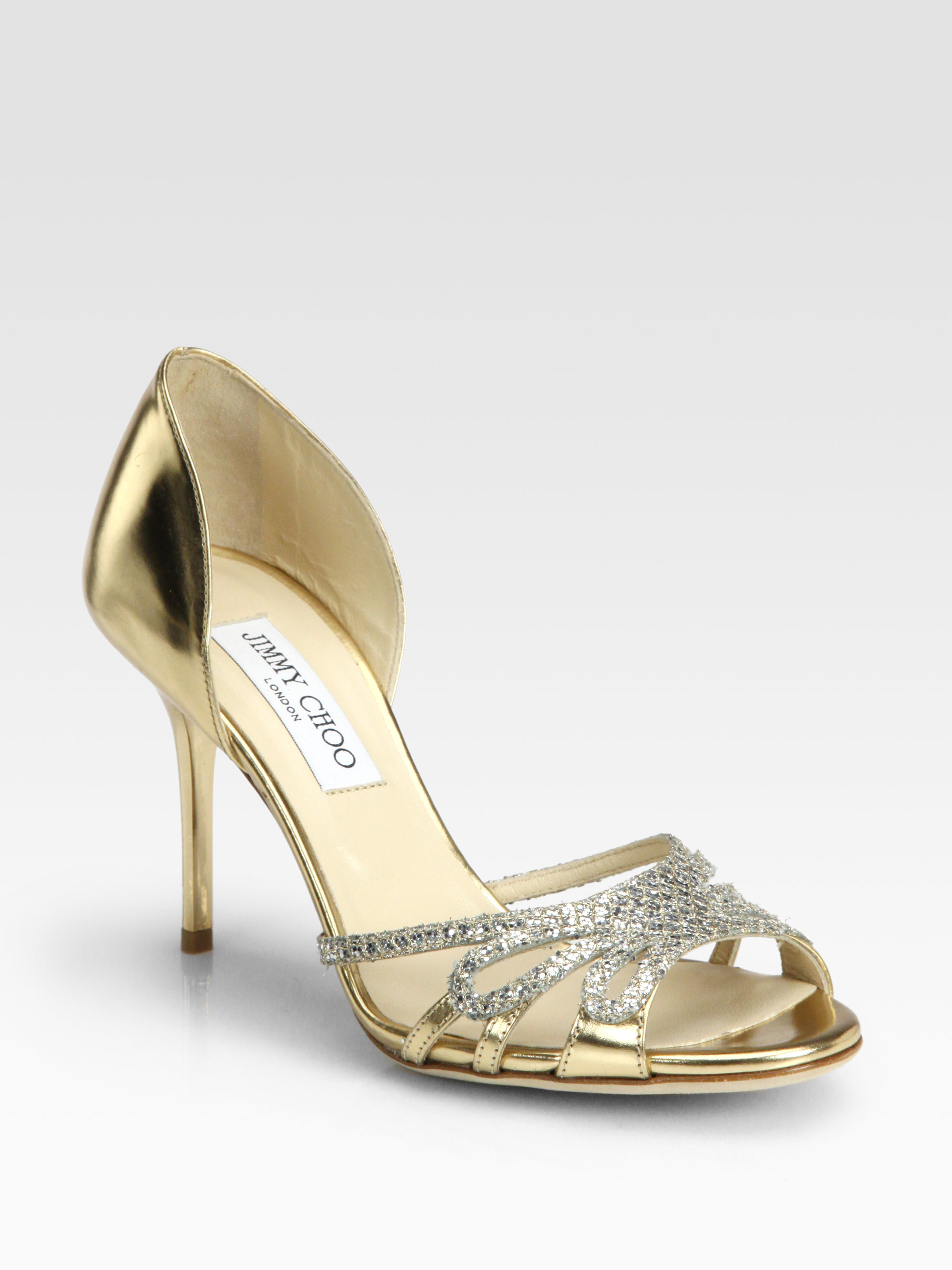 jimmy choo mocha glitter metallic leather sandals gold 14