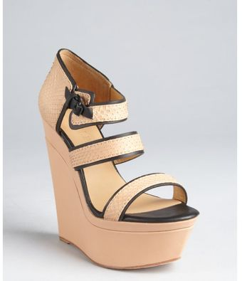 L.a.m.b. Tan and Black Snakeskin Embossed Leather Inesa Strappy Wedge Sandals - Lyst