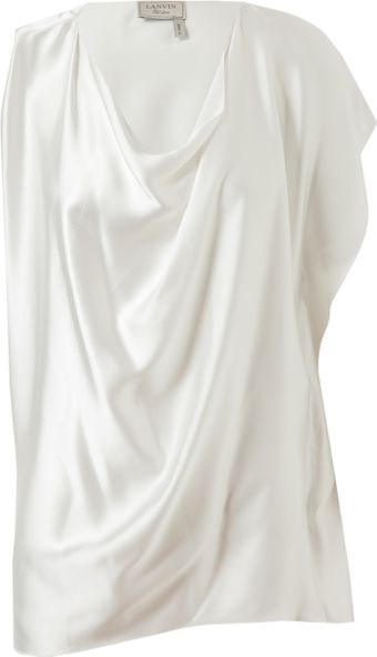 Lanvin Draped Satin Top - Lyst