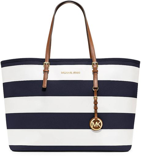 michael michael kors jet set stripe medium travel tote in blue navy. Black Bedroom Furniture Sets. Home Design Ideas