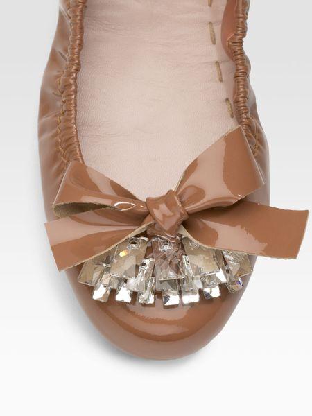Купить Балетки женские Miu Miu Patent Leather Scrunch Ballet Flats