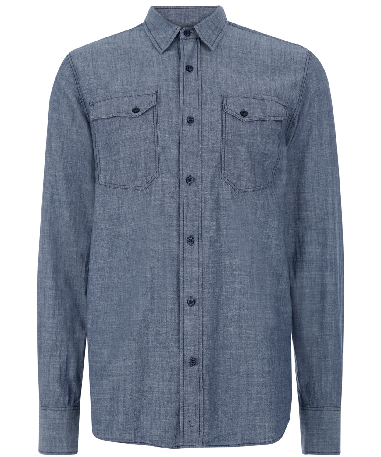 Nudie jeans indigo gunnar organic chambray shirt in blue for Chambray jeans