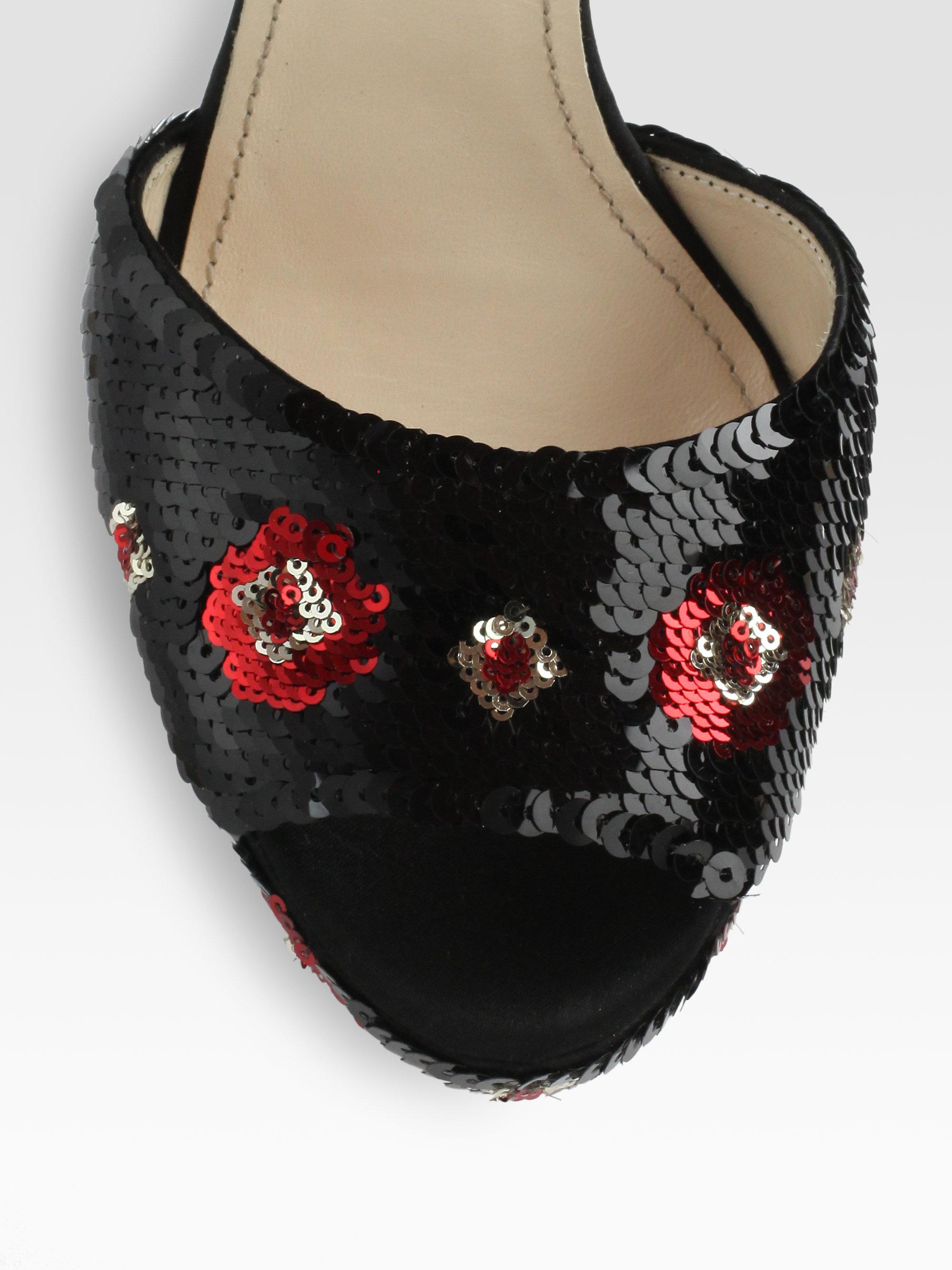 f83cba47797e Lyst - Prada Sequin Flower Ankle Strap Platform Sandals in Black
