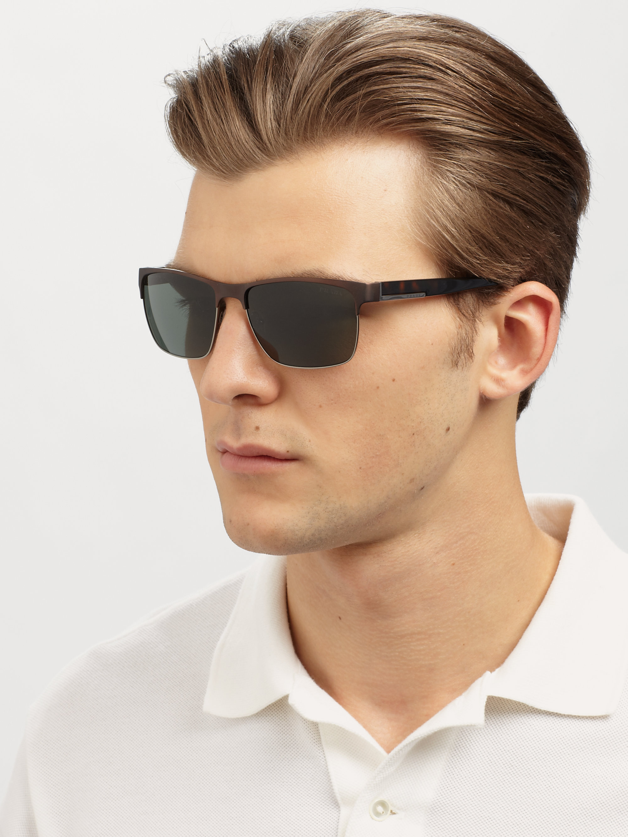 Prada Twotone Square Sunglasses In Brown For Men Lyst
