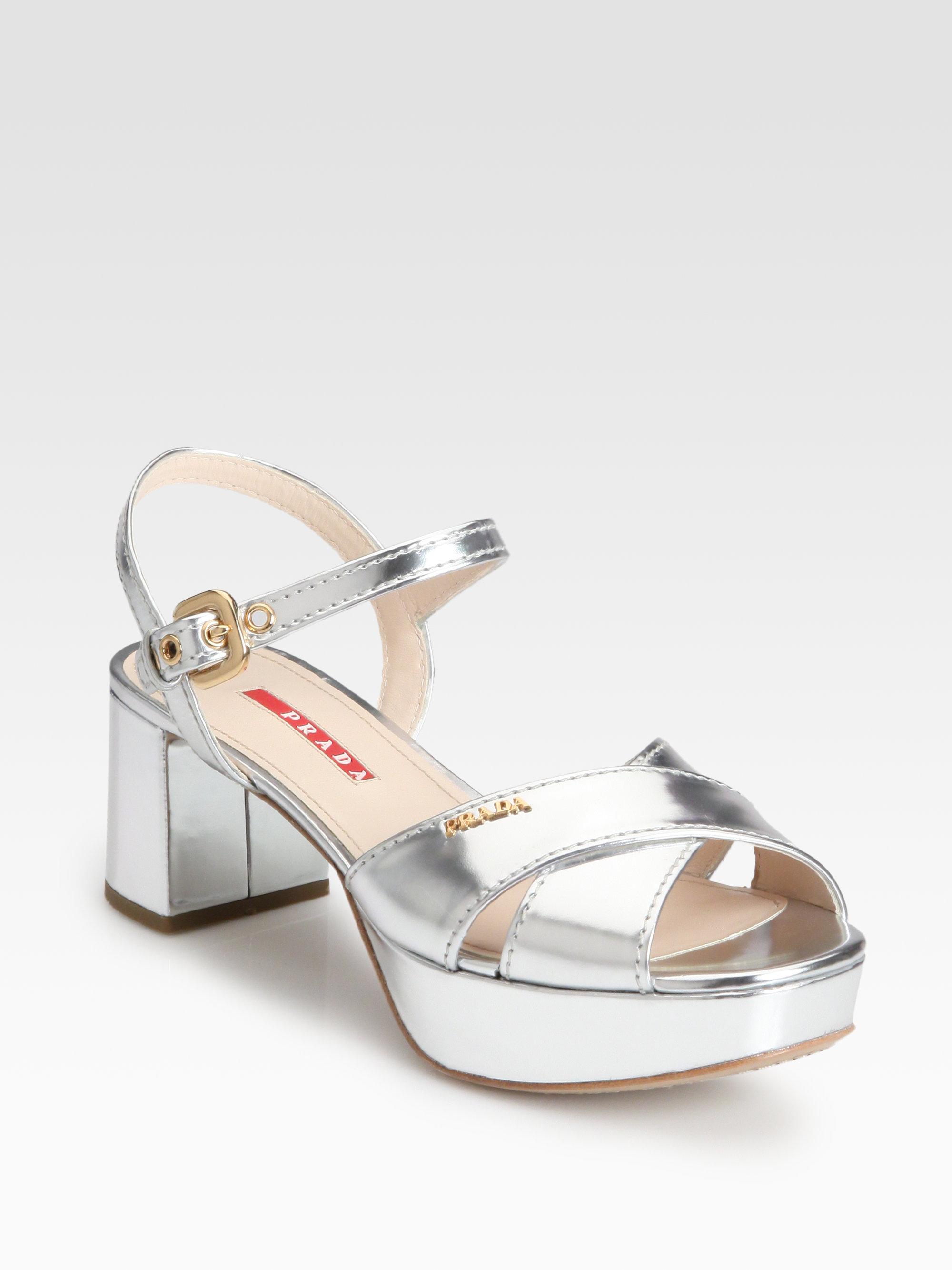 d5f6cd9295c4 Lyst - Prada Metallic Leather Crisscross Platform Sandals in Metallic