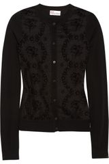 RED Valentino Flocked Silk and Wool Cardigan - Lyst