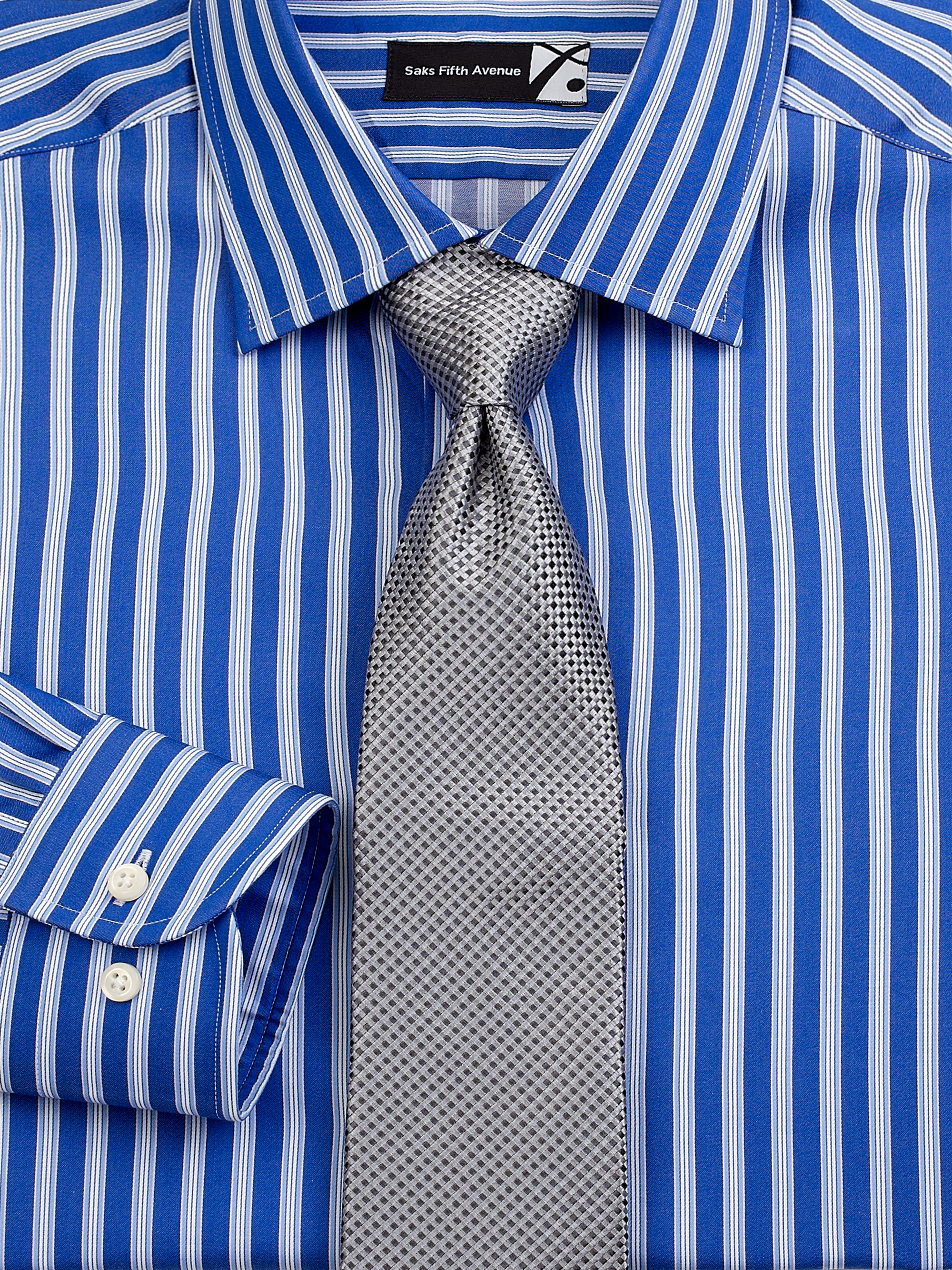 Saks fifth avenue striped cotton dress shirt in blue for for Mens red and white striped dress shirt