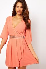 Tfnc Wrap Front Dress with Embellished Waist - Lyst