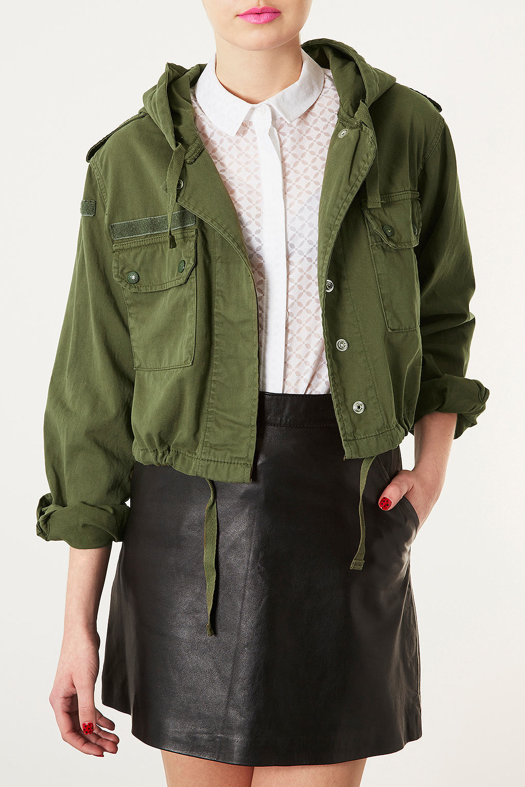 Lyst Topshop Hooded Crop Army Jacket In Natural