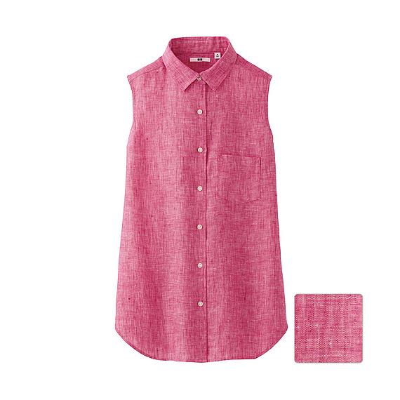 Uniqlo Premium Linen Sleeveless Shirt In Red Lyst