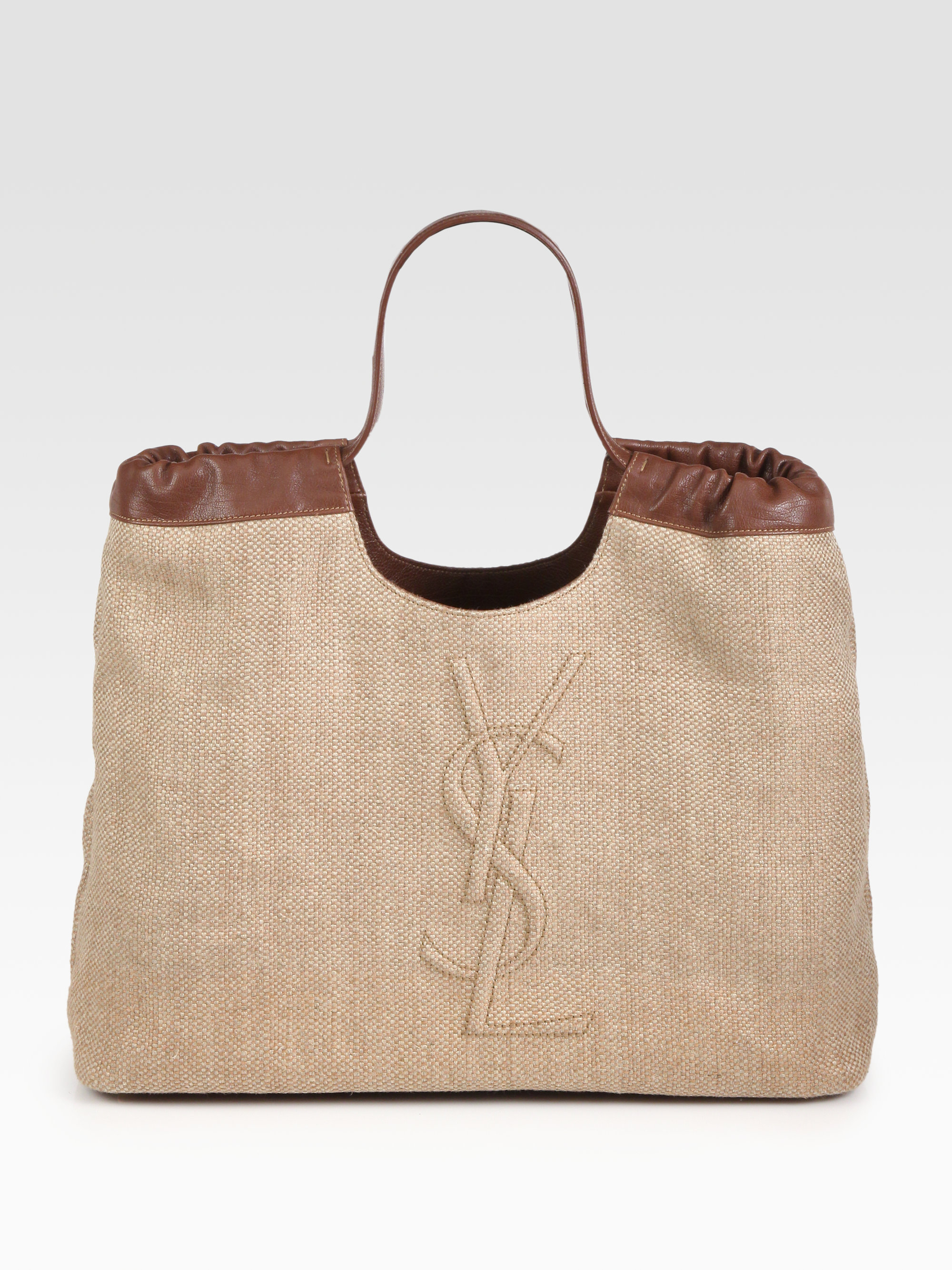 Saint laurent Ysl Large Straw Tweed Shopping Bag in Brown ...