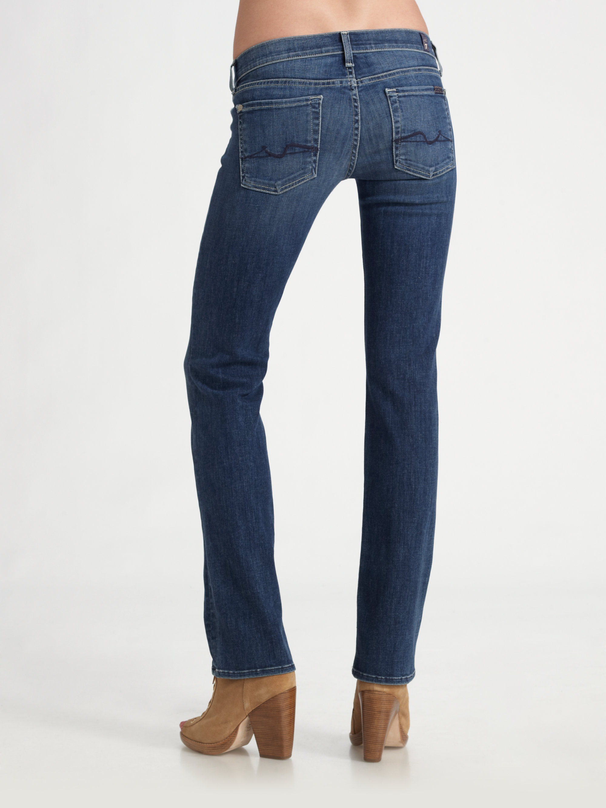 7 for all mankind Lexie Petite Straight-leg Jeans in Blue | Lyst