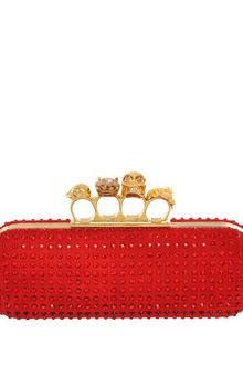 Alexander McQueen Crystal Silk Knuckle Box Clutch - Lyst