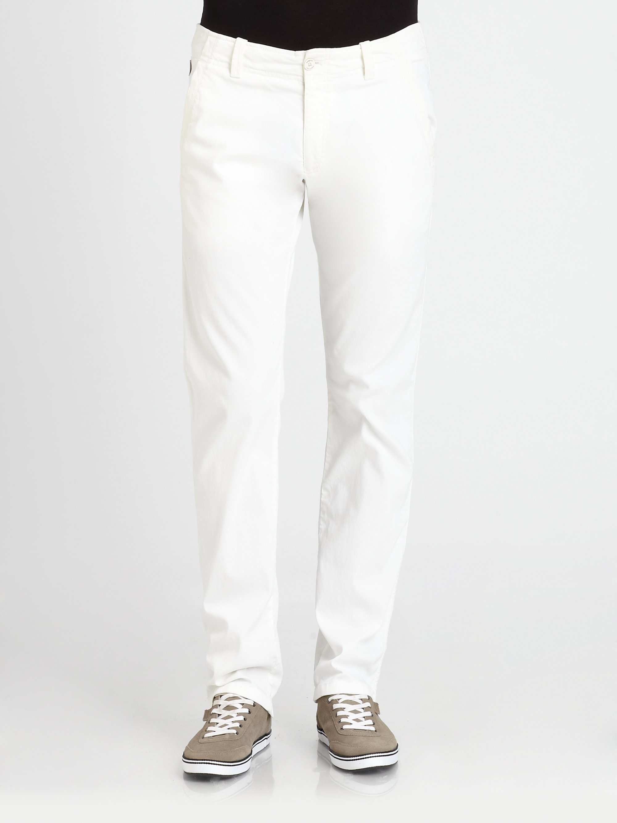 Armani Sport Pants in White for Men | Lyst