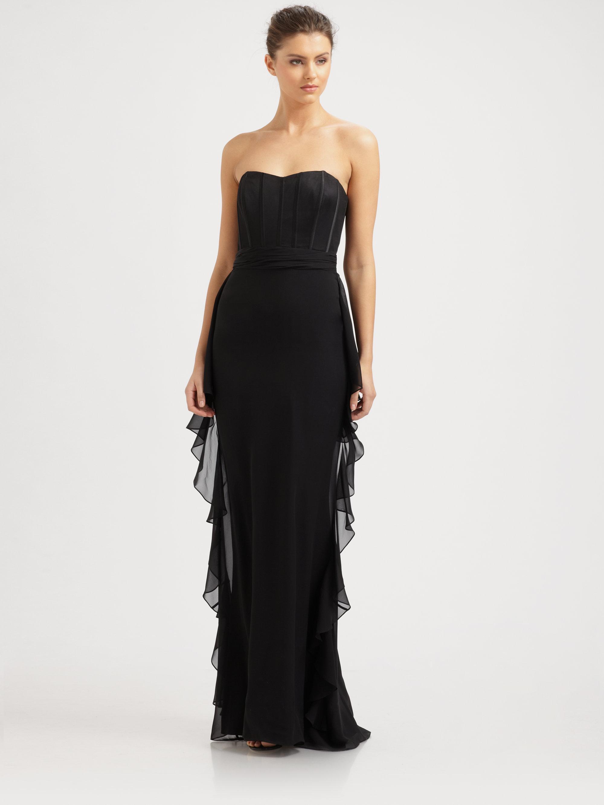 Badgley Mischka Strapless Silk Bustier Gown in Black | Lyst