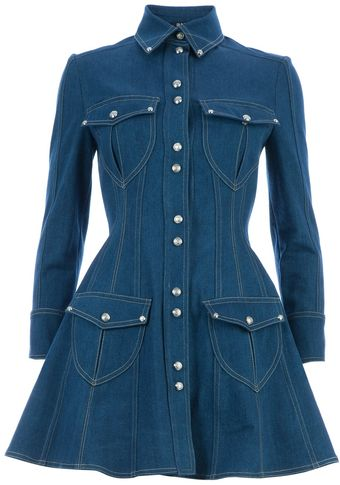 Balmain Denim Shirt Dress - Lyst