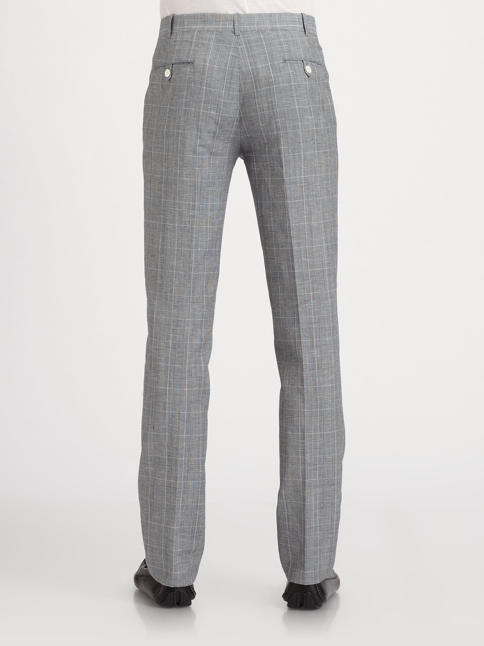 Band of outsiders Check Wool Linen Pants in Gray for Men | Lyst