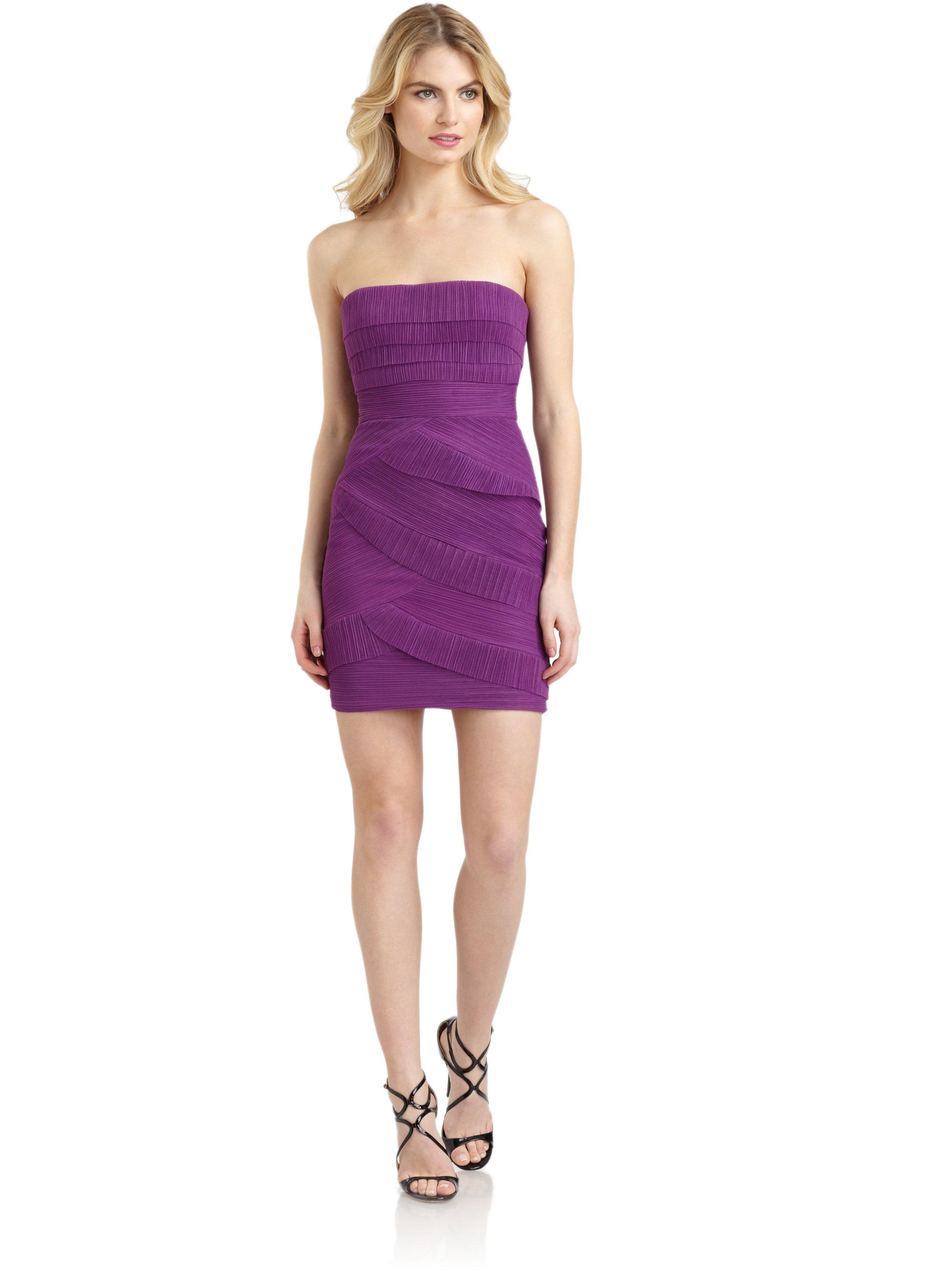 Lyst - Bcbgmaxazria Jorie Pleated Strapless Cocktail Dress in Purple