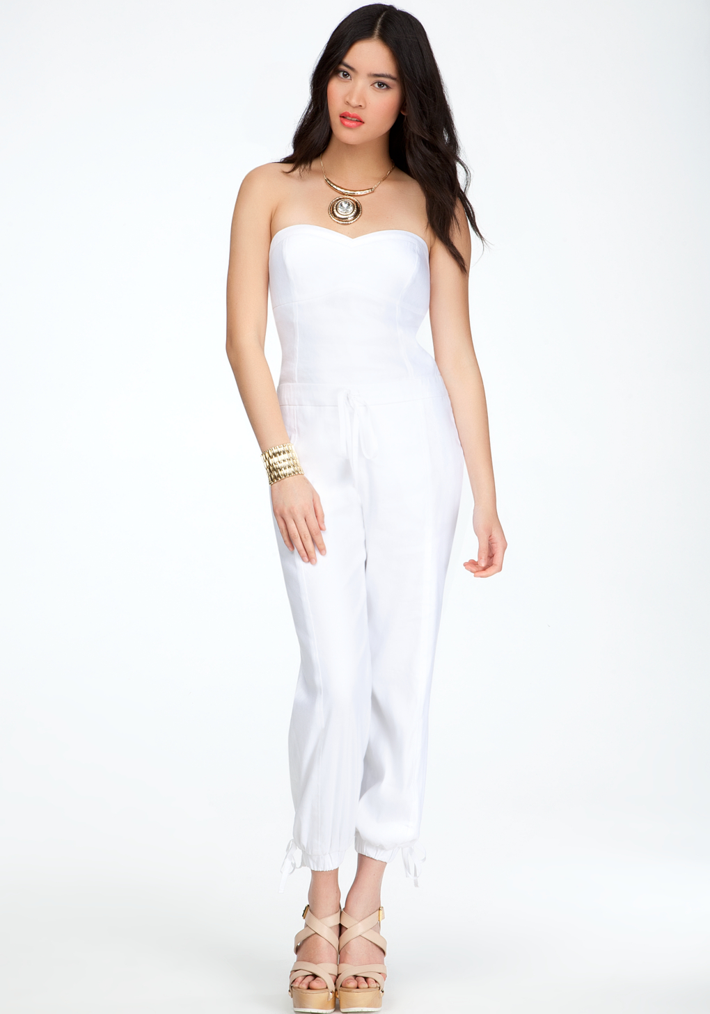 72350eaa002c Lyst - Bebe Sweetheart Neckline Jumpsuit in White