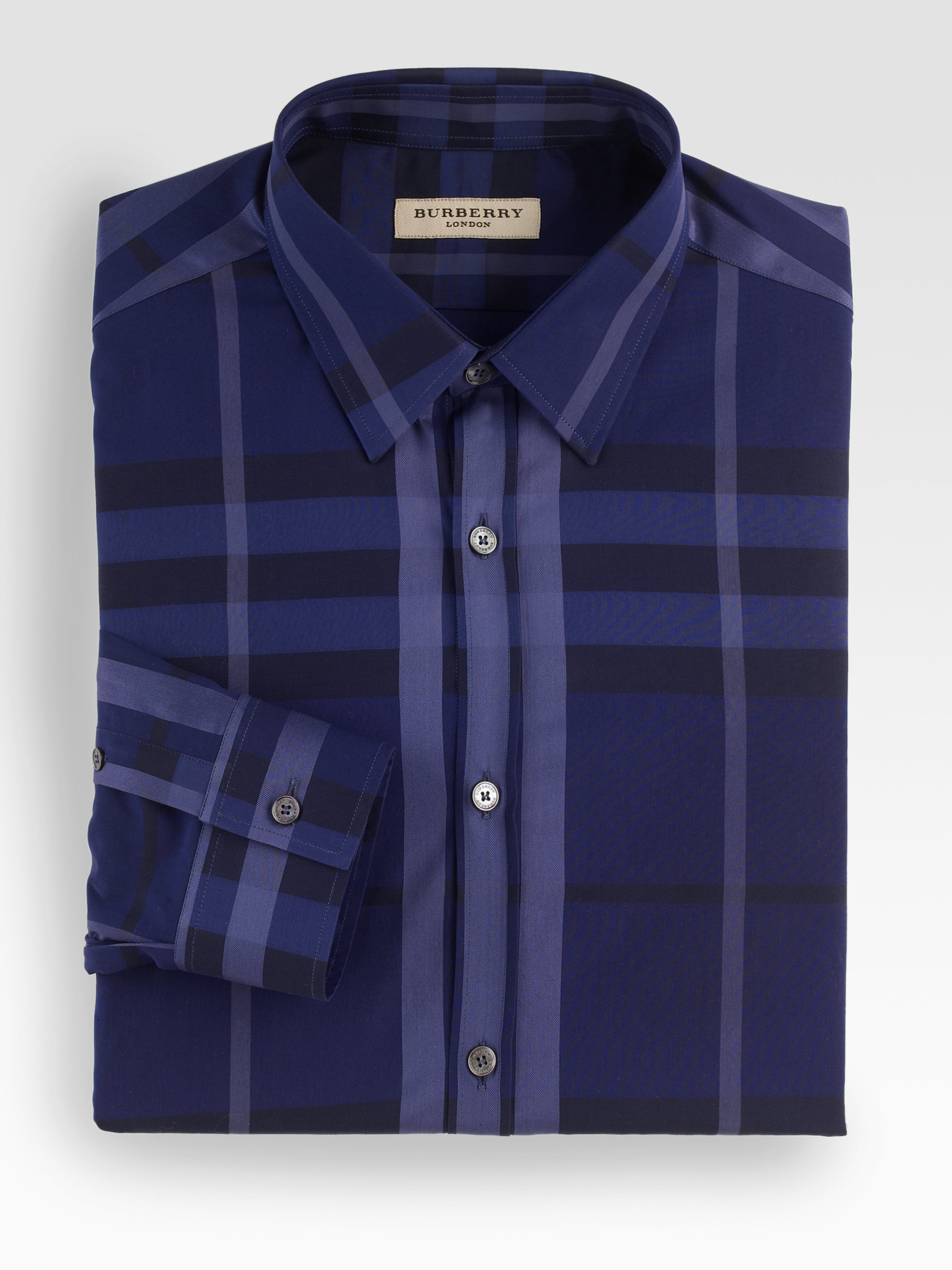 Burberry Upbeat Check Dress Shirt In Blue For Men