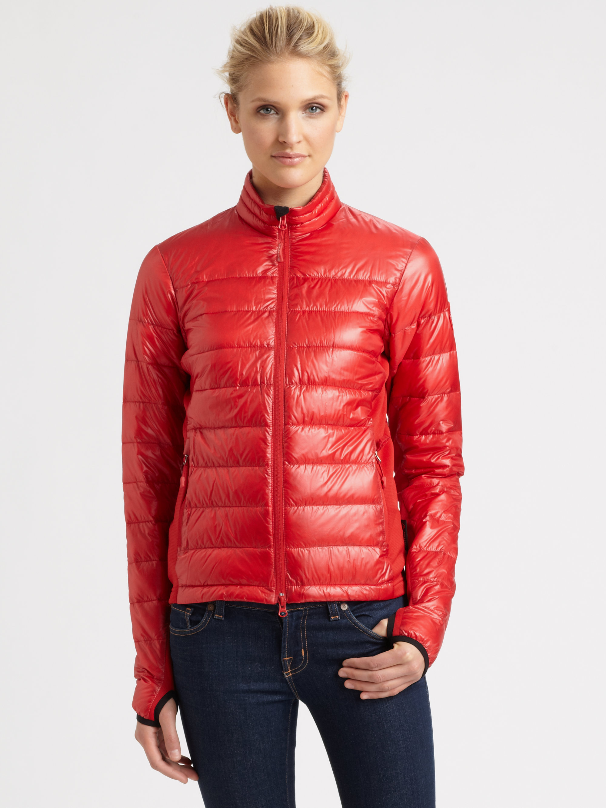 dc7ec9f0f757 low price lyst canada goose hybridge lite jacket in red f162a fff67