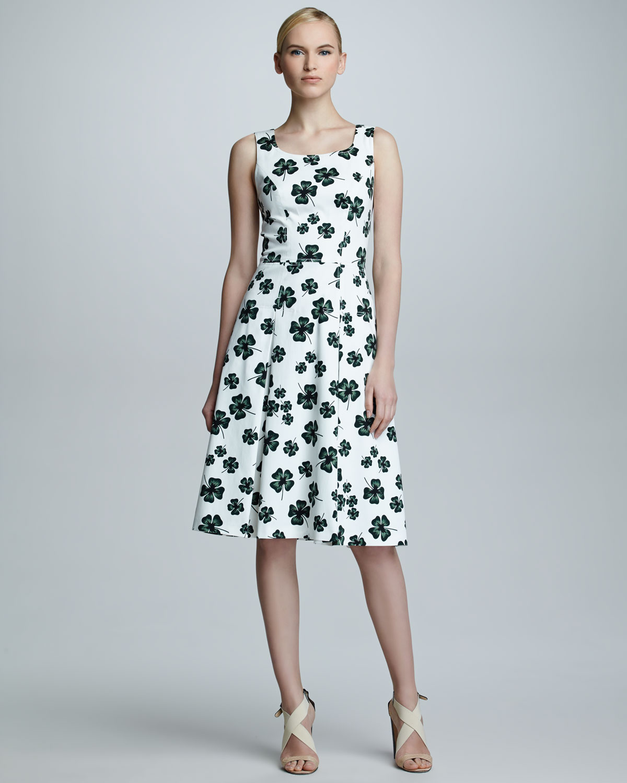 Lyst - Carolina Herrera Clover-Print Scoopneck Dress in Black